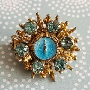 Vintage Miraculous Mary rhinestone brooch blue